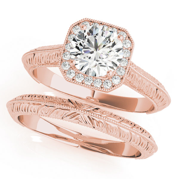 Two rose gold halo engagement rings with a diamond center stone on one ring and intricate designs on each band