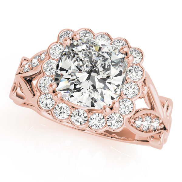 top view of a large rose gold cathedral square halo diamond engagement ring
