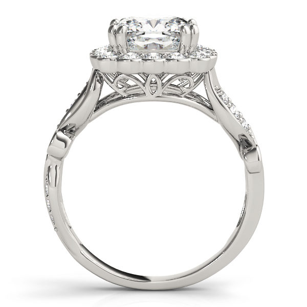 front view of a large white gold cathedral square halo diamond engagement ring