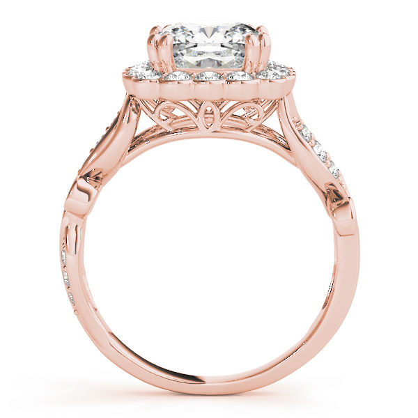 front view of a large rose gold cathedral square halo diamond engagement ring