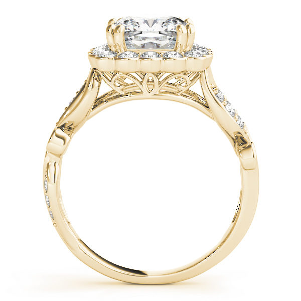 front view of a large yellow gold cathedral square halo diamond engagement ring