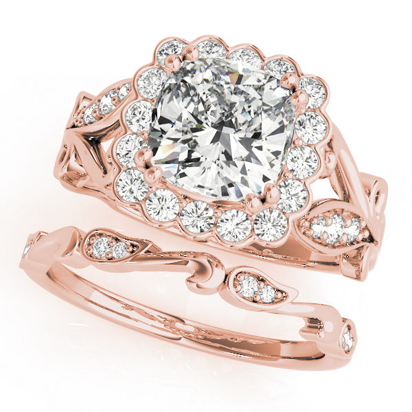 top view of a large rose gold cathedral square halo diamond engagement ring and a freeform band ring with no head