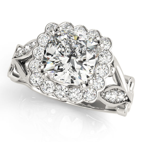 top view of a large white gold cathedral square halo diamond engagement ring