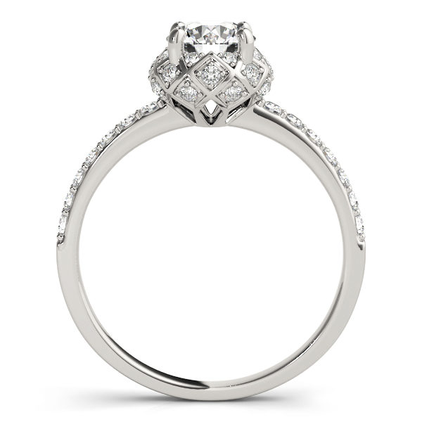 front view of a white gold cathedral diamond engagement ring with a number of side and accent stones