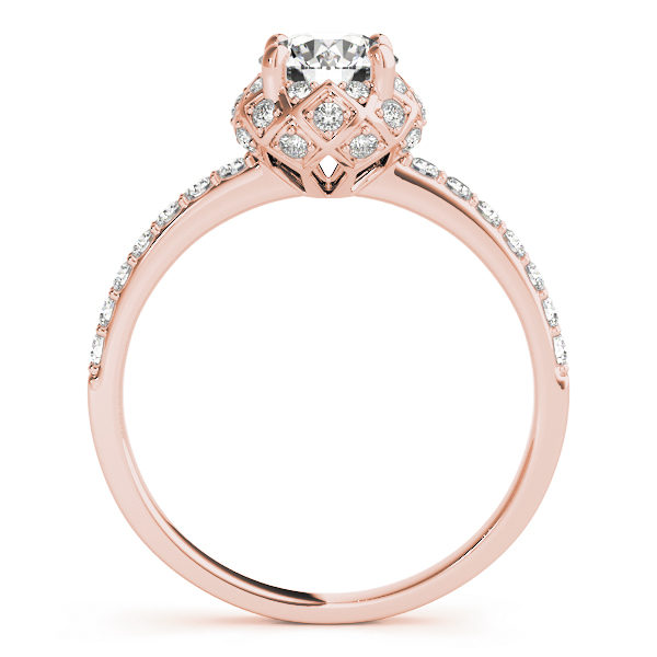 front view of a rose gold cathedral diamond engagement ring with a number of side and accent stones