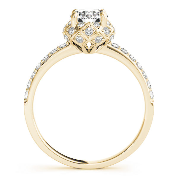 front view of a yellow gold cathedral diamond engagement ring with a number of side and accent stones