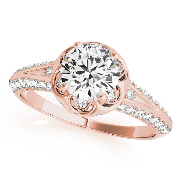 top view of a rose gold diamond halo engagement ring with a number of side and accent stones