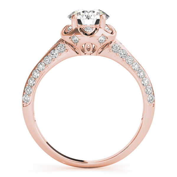 front view of a rose gold diamond halo engagement ring with a number of side and accent stones