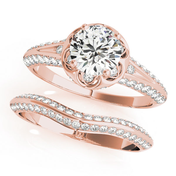 top view of a rose gold diamond halo engagement ring and a plain one with a number of side and accent stones