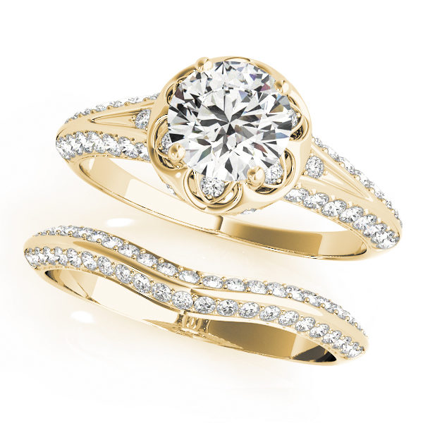 top view of a yellow gold diamond halo engagement ring and a plain one with a number of side and accent stones