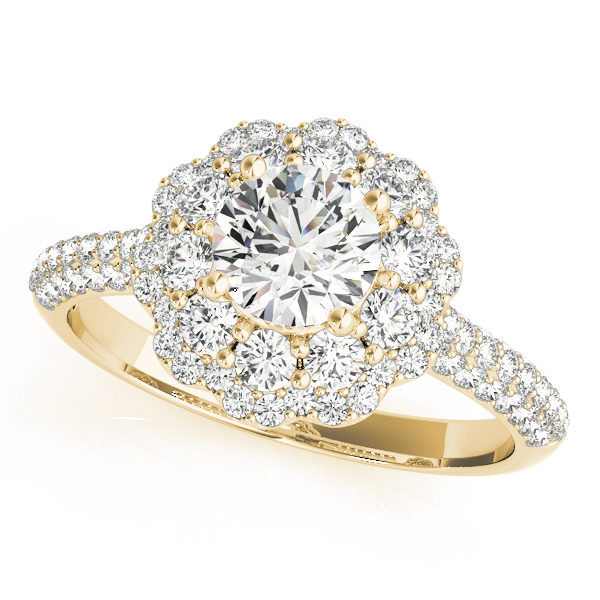 Yellow gold halo pave diamond ring with side diamond accent formed as flower with row of diamonds embedded on upper shank