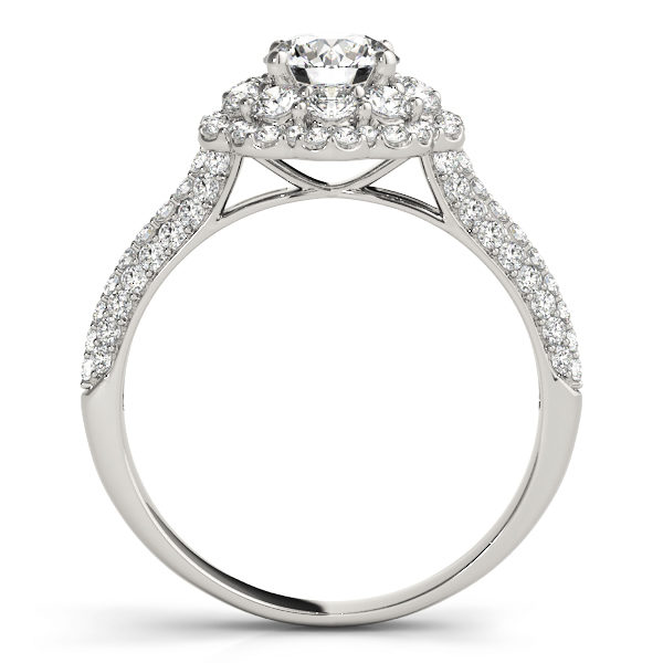 Front view of white gold pave diamond ring revealing the side part of the halo engagement ring
