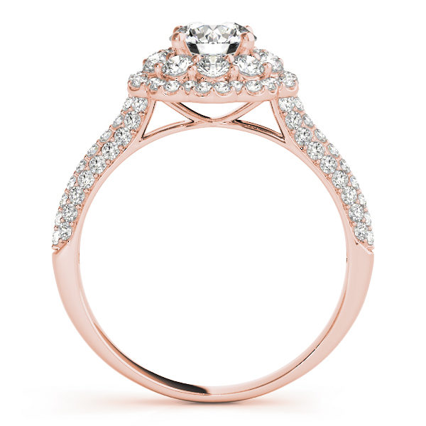 Front view of rose gold pave diamond ring revealing the side part of the halo engagement ring