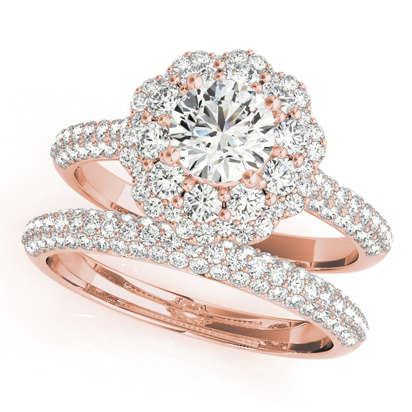 Wedding set of a pave diamond ring for engagement and wedding band with pave diamonds in rose gold band