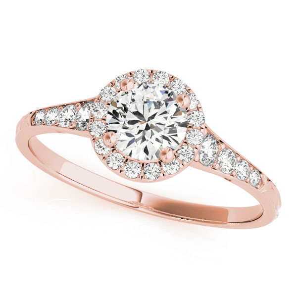 top view of a petite rose gold diamond halo engagement ring