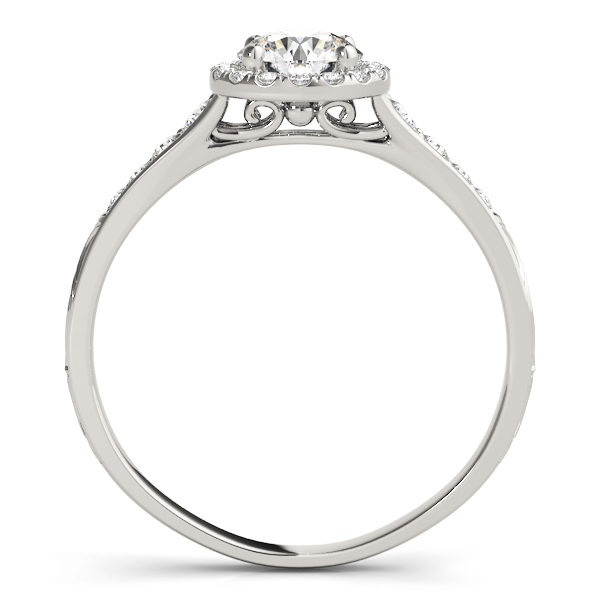 front view of a petite white gold diamond halo engagement ring
