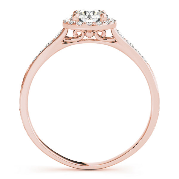 front view of a petite rose gold diamond halo engagement ring