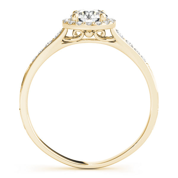 front view of a petite yellow gold diamond halo engagement ring