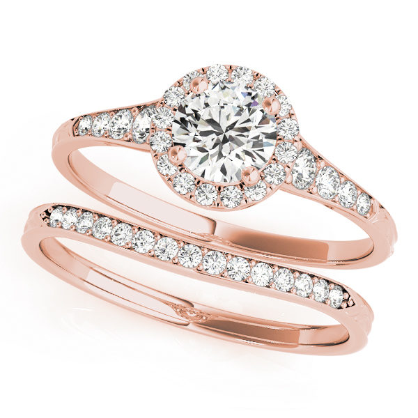 top view of two petite rose gold diamond halo engagement rings, one has a head and one doesn't