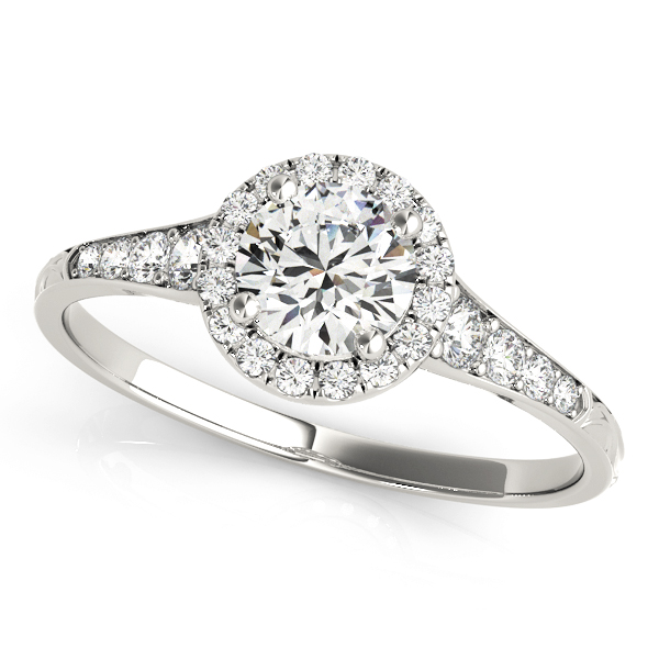 top view of a petite white gold diamond halo engagement ring