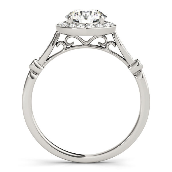 front view of a white gold diamond halo engagement ring
