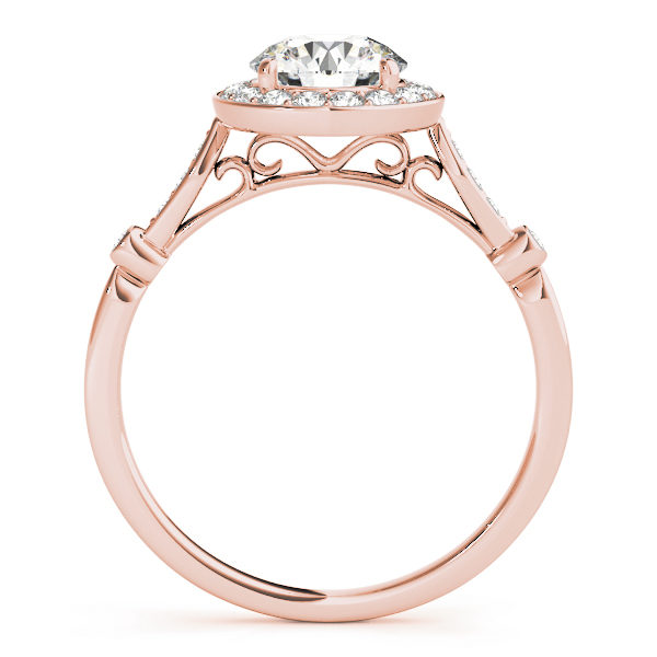 front view of a rose gold diamond halo engagement ring
