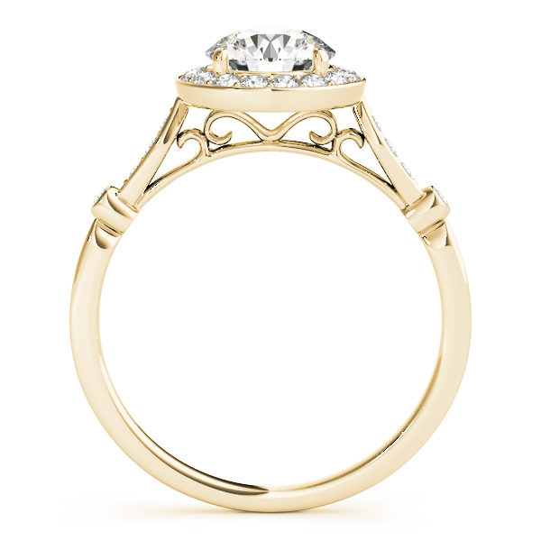 front view of a yellow gold diamond halo engagement ring