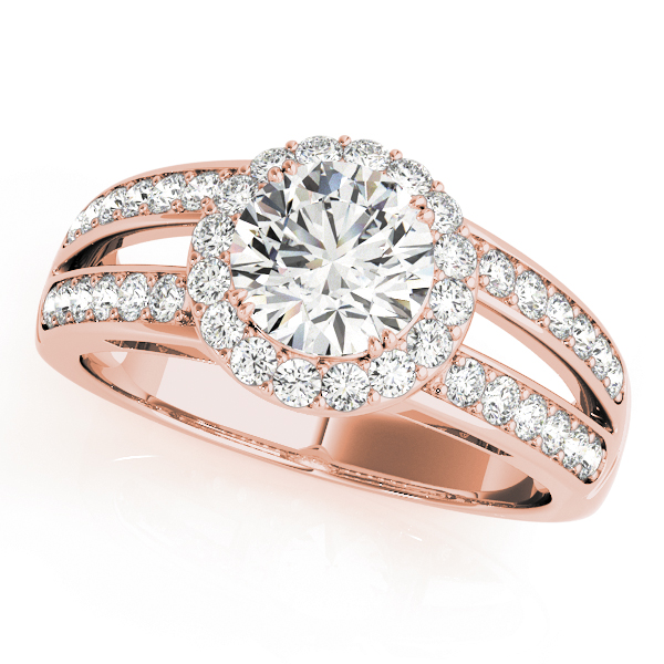 Rose gold split shink halo engagement ring with round cut diamond as center stone