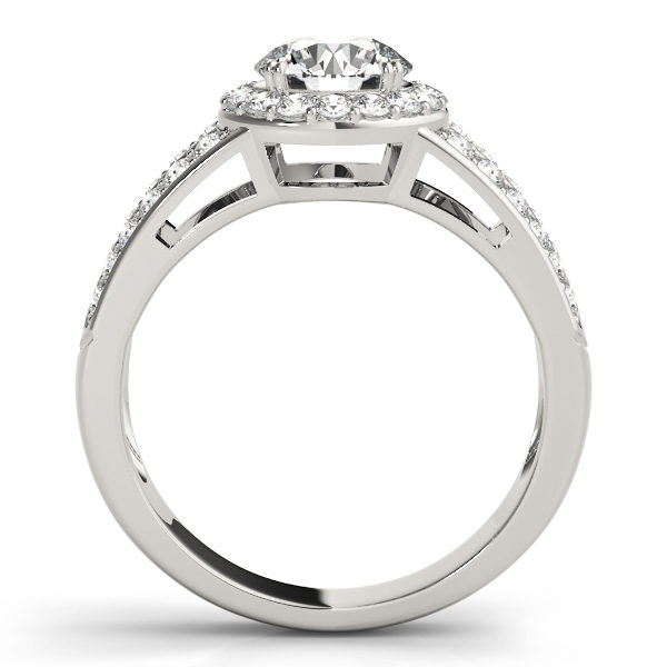 Front view of white gold split shink halo engagement ring with simple bridge design