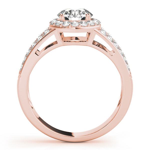 Front view of rose gold split shink halo engagement ring with simple bridge design
