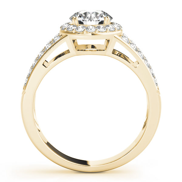Front view of yellow gold split shink halo engagement ring with simple bridge design