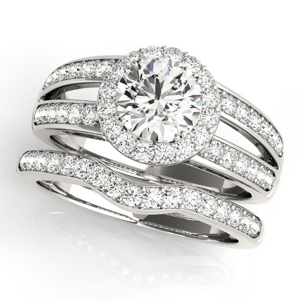 Split shank halo engagement ring with round cut diamond and diamond wedding band in white gold