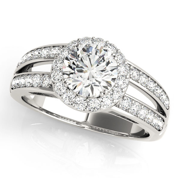 White gold split shink halo engagement ring with round cut diamond as center stone