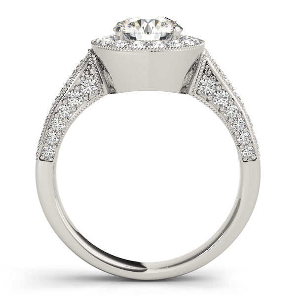 Front view of a white gold round halo channel set engagement ring revealing the side part of the ring with plain bridge