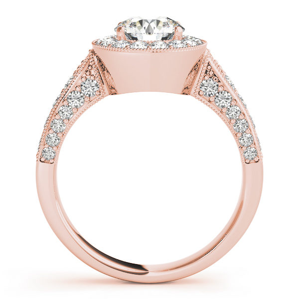 Front view of a rose gold round halo channel set engagement ring revealing the side part of the ring with plain bridge