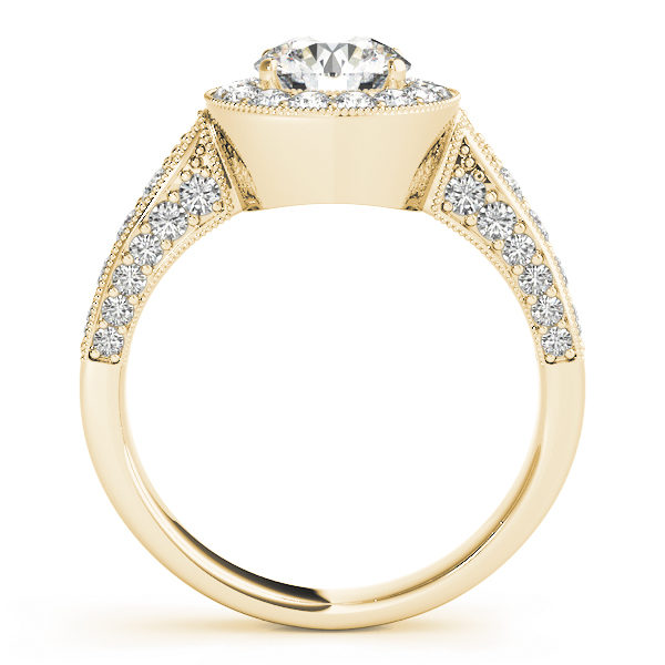 Front view of a yellow gold round halo channel set engagement ring revealing the side part of the ring with plain bridge
