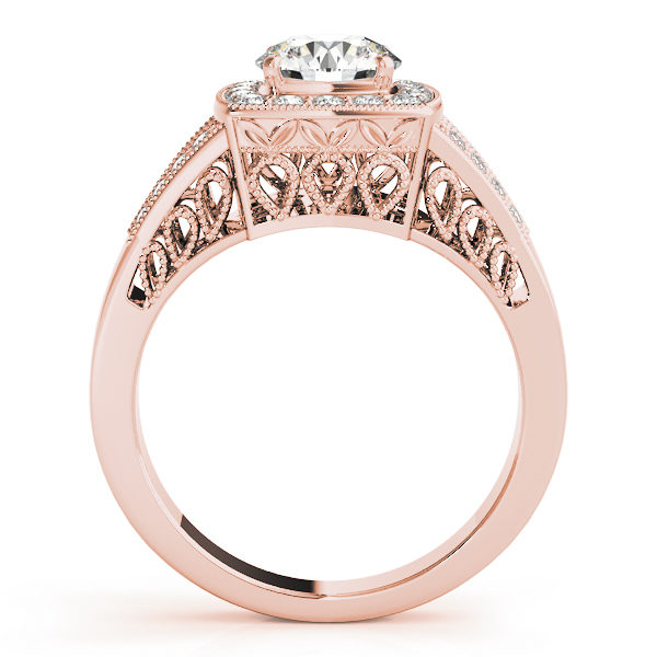 Side view of a rose gold engagement ring with an water drop lattice style under gallery and upper shank.