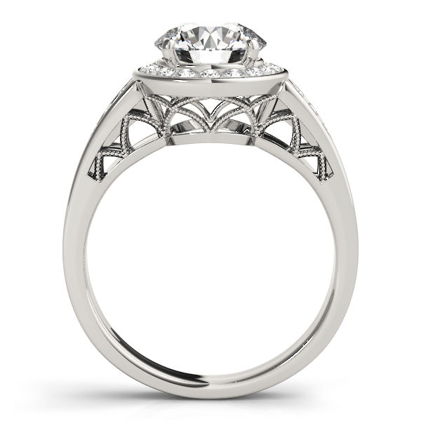 The side view of a white gold halo engagement ring with a curved style lattice undergallery and upper shank.