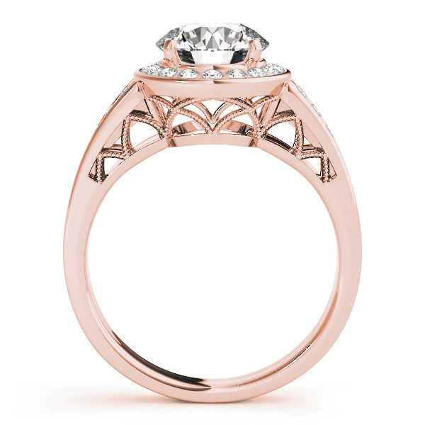 The side view of a rose gold halo engagement ring with a curved style lattice undergallery and upper shank.