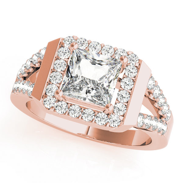 Rose gold square cut halo diamond engagement ring with a surface prong diamond set split shank band.