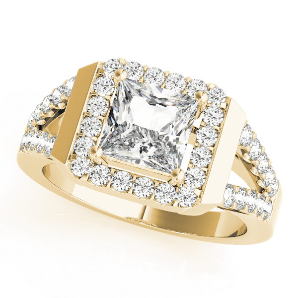 Yellow gold square cut halo diamond engagement ring with a surface prong diamond set split shank band.