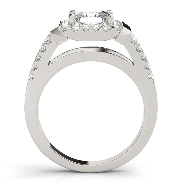 Side view of a white gold engagement ring with a surface prong set diamond embellished upper shank, and an open style under gallery.