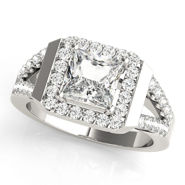 White gold square cut halo diamond engagement ring with a surface prong diamond set split shank band.