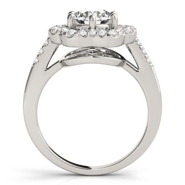Side view of a white gold engagement ring with diamond flower halo head, and an open flower style under gallery.