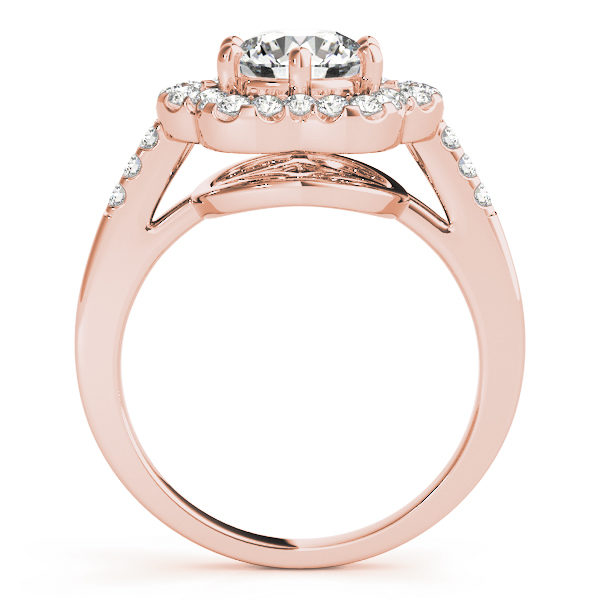 Side view of a rose gold engagement ring with diamond flower halo head, and an open flower style under gallery.