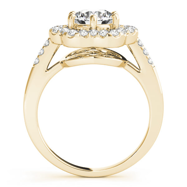 Side view of a yellow gold engagement ring with diamond flower halo head, and an open flower style under gallery.