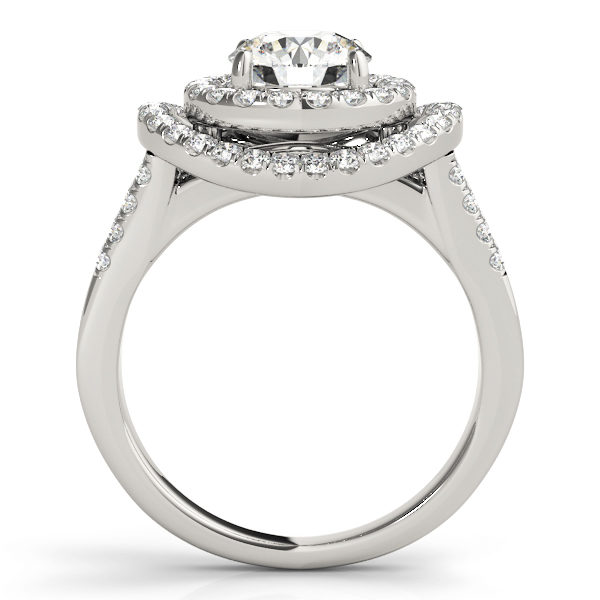 Side view of a curved halo diamond engagement ring in white gold with a surfaced setting embedded with melee diamonds.