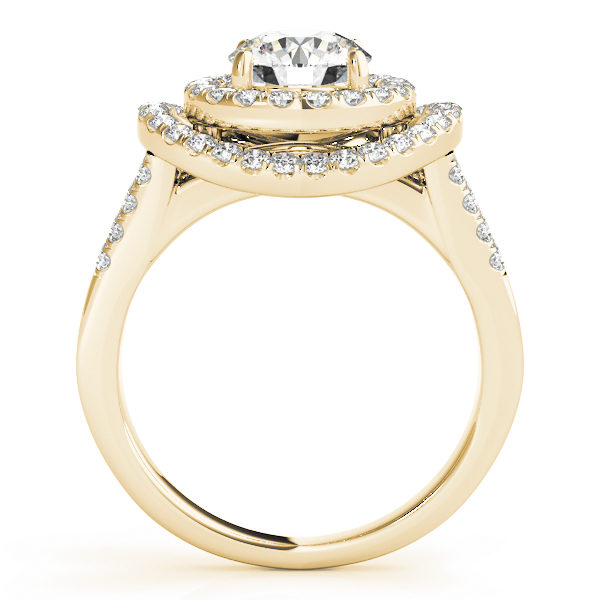 Side view of a curved halo diamond engagement ring in yellow gold with a surfaced setting embedded with melee diamonds.