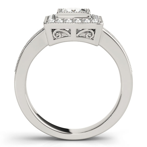 Side view of a traditional halo diamond engagement ring in white gold with an open cathedral on a channeled setting embedded with melee diamonds.