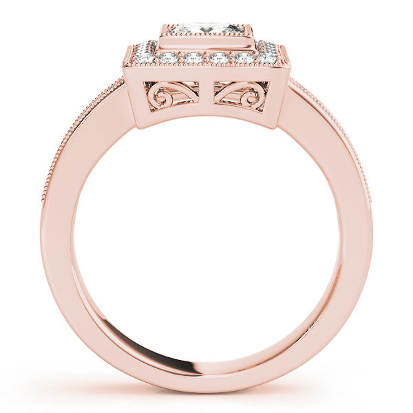 Side view of a traditional halo diamond engagement ring in rose gold with an open cathedral on a channeled setting embedded with melee diamonds.